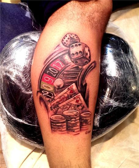 kumar-rulet-poker-zar-kart-dovmeleri---gambler-roulette-tattoo