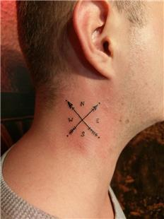 Boyuna Oklar ve Pusula Dövmesi / Arrows and Compass Tattoo on Neck