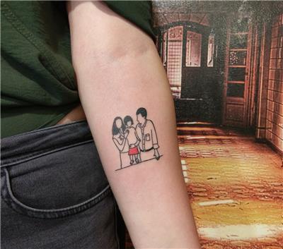 retro-minimal-aile-dovmesi---retro-minimal-family-tattoo