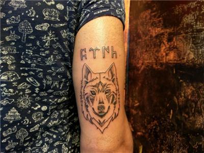 kurt-dovmesi-ve-gokturkce-turk-yazisi---wolf-tattoo