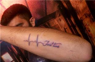 Just Live Kardiyo Kalp Ritmi Dövme / Just Live Heart Rhythm Tattoo